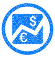 euro dollar chart rounded grainy icon vector image
