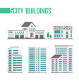 five city buildings set of icons - vector image