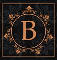 florishes gold letter b calligraphic heraldic dark vector image