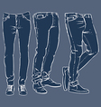 Hand drawn fashion design mens jeans set vector image