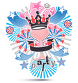 Joyful holiday background with stylized 3d monarch vector image