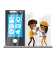 people with smartphone in the hand and vector image