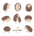 set of cute hedgehogs vector image
