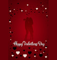 silhouette couple kissing happy valentines day vector image