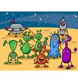 Ufo aliens group cartoon vector image