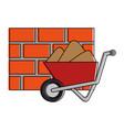 wheelbarrow construction with bricks wall vector image