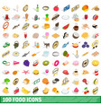 100 food icons set isometric 3d style vector image