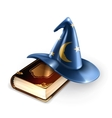 Wizard hat and old book vector image vector image