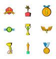 achievement icons set cartoon style vector image