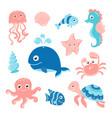 ocean set with cartoon sea animals vector image