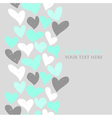 Mint green and grey cute hearts seamless text vector image