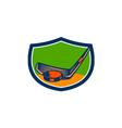 Hockey Puck Stick Crest Retro vector image vector image