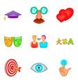 choice icons set cartoon style vector image