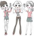 cute girls make selfie vector image