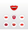 flat icon mouth set of lipstick teeth lips and vector image