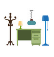furniture pieces living room lamp hanger chest vector image
