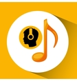 head silhouette listening music note vector image