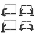 hold mobile tab with hands flat icon set vector image