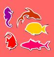 Sea life sticker set vector image