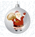 Merry Christmas card with brilliant glossy ball vector image vector image
