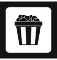 Popcorn in striped bucket icon simple style vector image