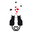 cats in love with hearts and birds vector image vector image