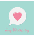 Speech talk bubble with pink heart Happy vector image