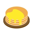 A stack of pancakes with honey isometric 3d icon vector image