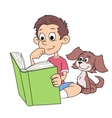 Boy and puppy reading a book 2 vector image