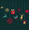merry christmas retro gold ornament greeting card vector image