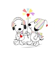 Puppies with flower vector image