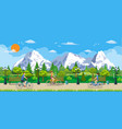 Riding bicycles in public park vector image