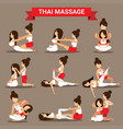 set of thai massage positions design for healty vector image