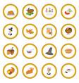 thanksgiving day cartoon icon circle vector image