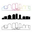 Long Beach V2 skyline linear style with rainbow vector image