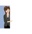 Attractive business woman pointing to the vector image