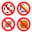 Ban game with ball icon set vector image