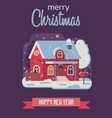 christmas card with farm winter house by night vector image