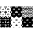 crowns seamless patterns set in black and vector image