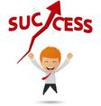 Happy businessman get success vector image