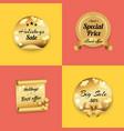 holidays best offer label on gold paper stamp set vector image