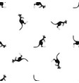 kangaroo pattern seamless black vector image