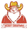 Santa Claus in cowboy hat on old paper with text vector image