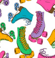 Seamless pattern with retro roller skates vector image