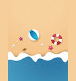 summer time background on beach paper art style vector image