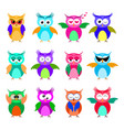 various cartoon owl emoticon set vector image