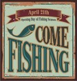 Vintage fishing metal sign vector image