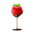 strawberry with green leaves in chocolate trickle vector image