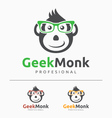 Geek Monkey Logo Template vector image