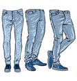 blue jeans set denim clip art sketch vector image